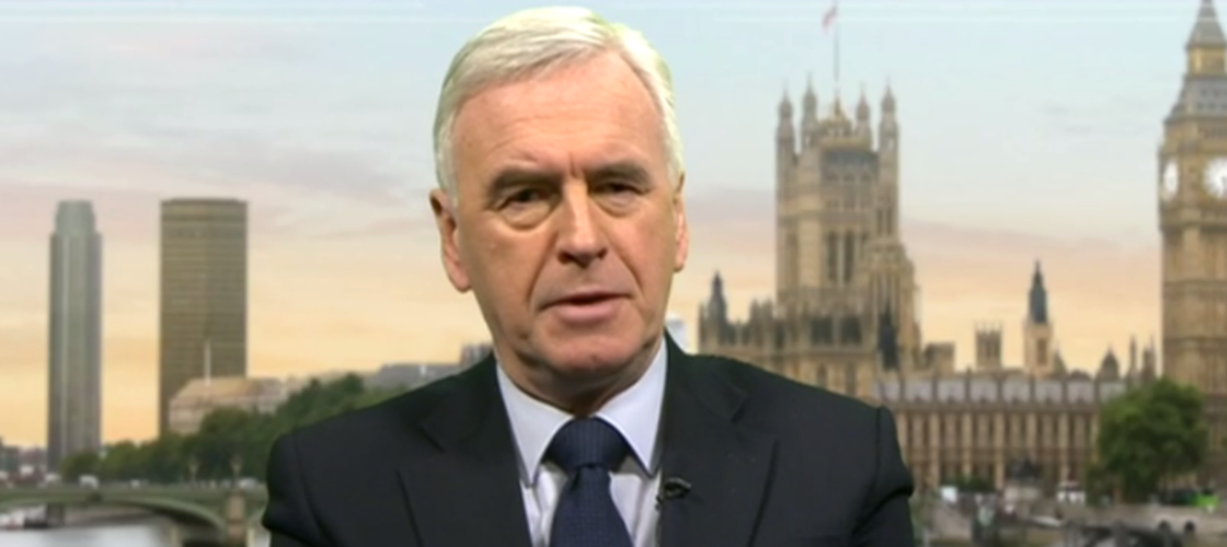 John McDonnell appearing on BBC News this morning