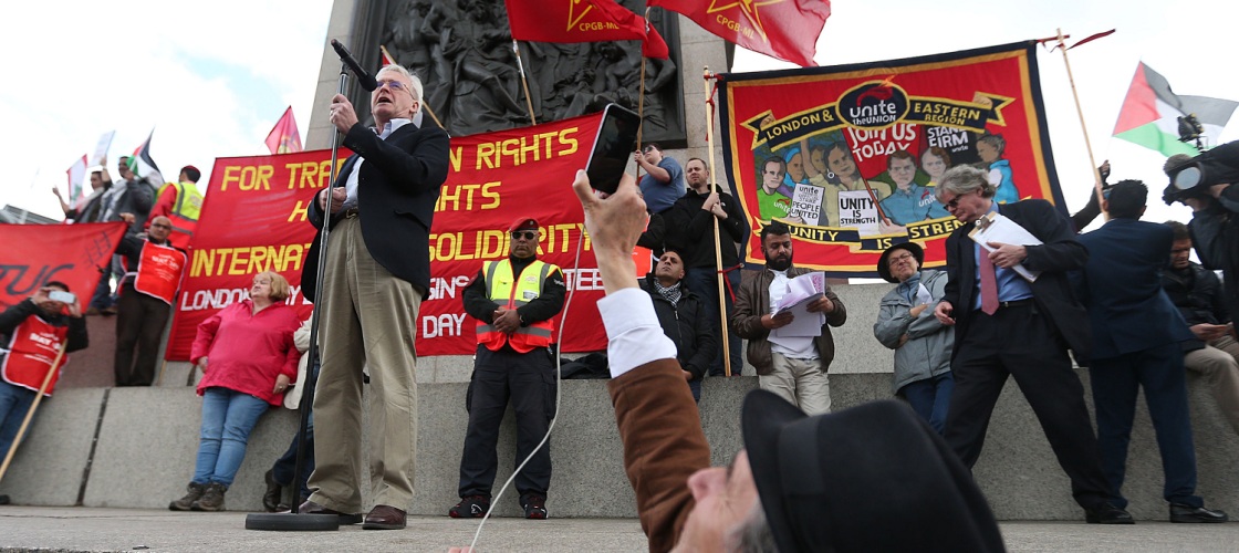 John McDonnell addressing the May Day march in Trafalgar Square