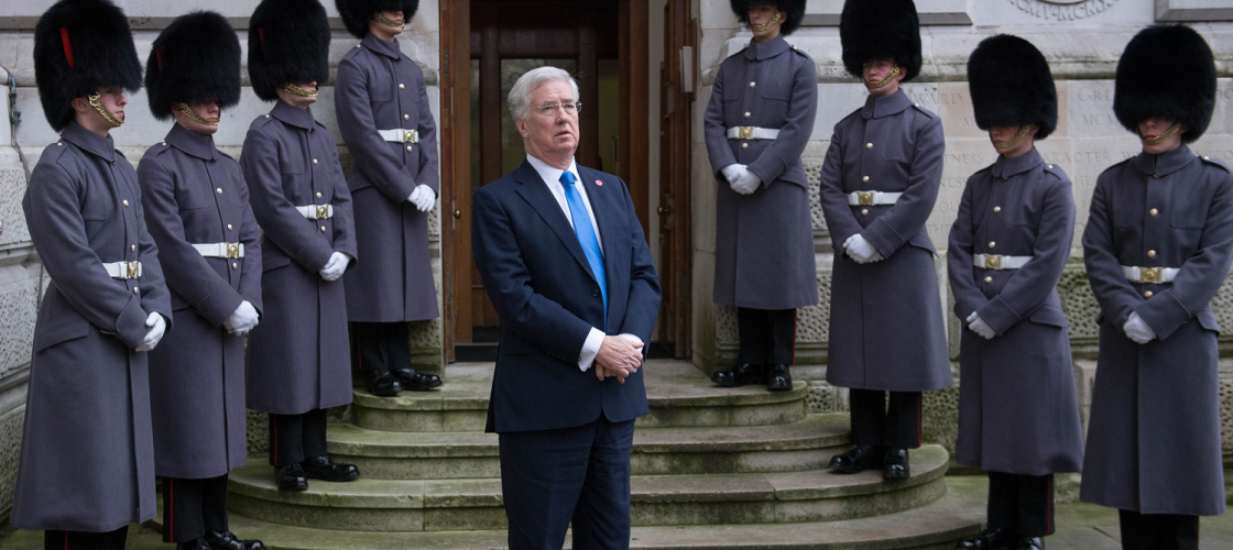 Michael Fallon outside the Foreign Office