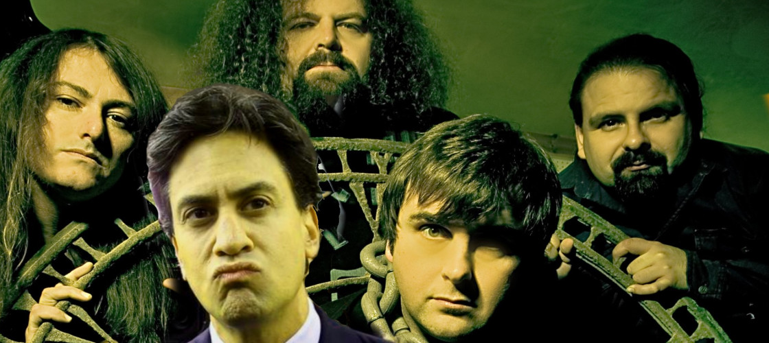 Ed Miliband with Napalm Death