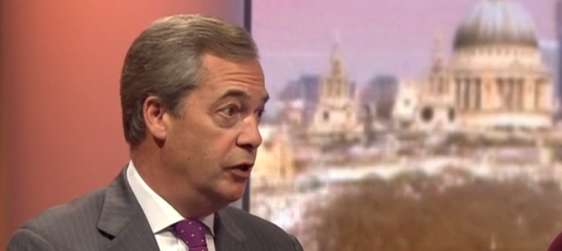 Nigel Farage appearing on the Andrew Marr Show this morning