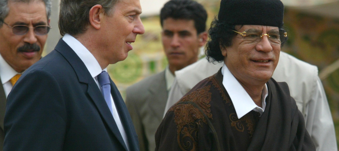 Tony Blair meeting Colonel Gaddafi in 2004