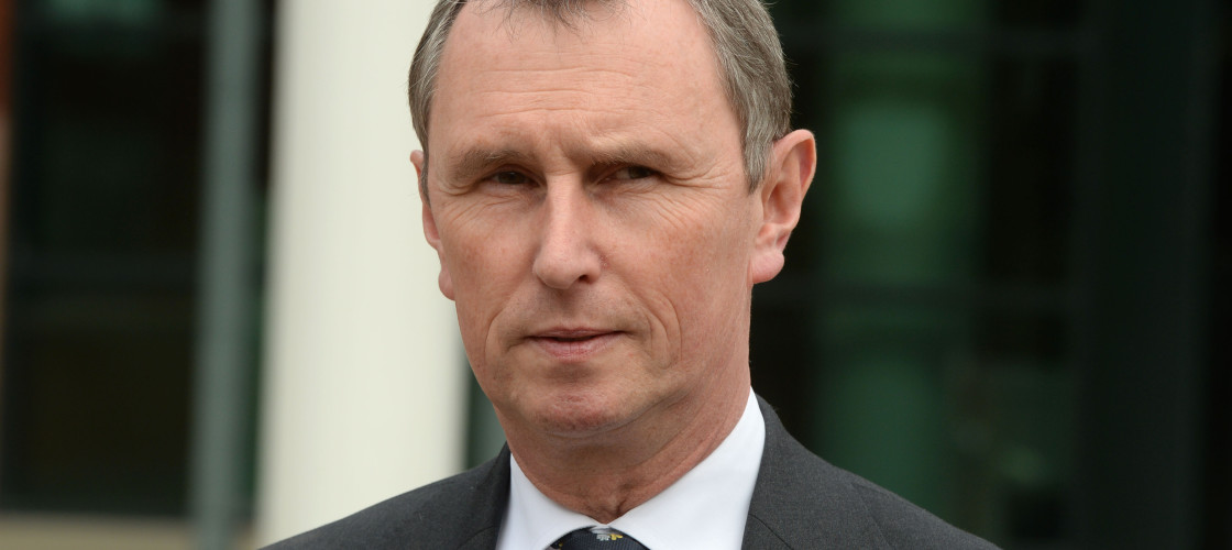 Nigel Evans speaking outside Preston Crown Court after he was found not guilty of nine charges in 2014.