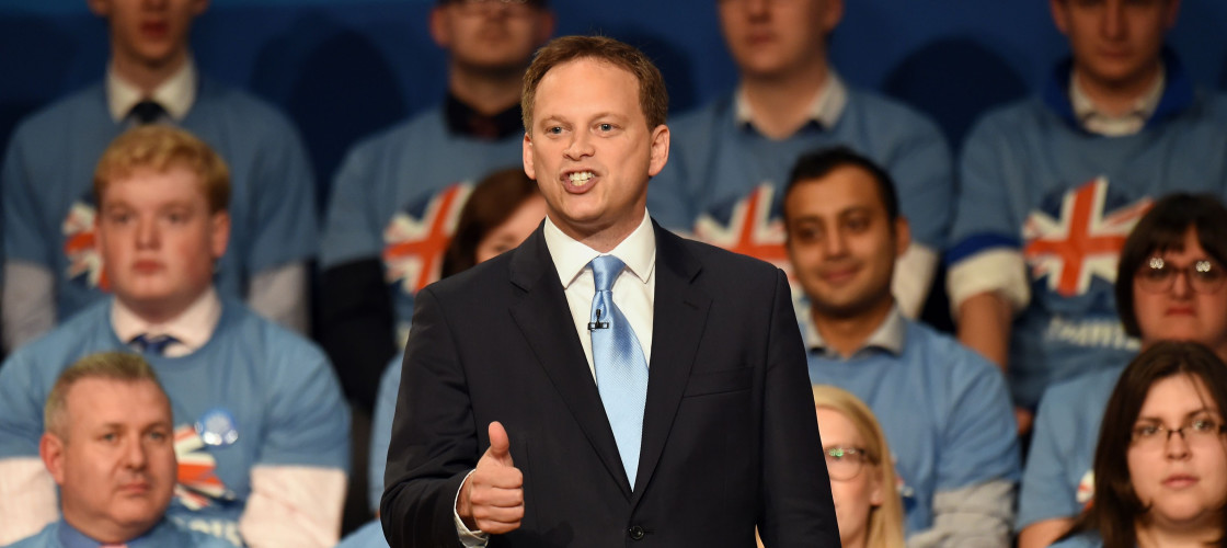 Grant Shapps addressing Tory conference in 2014