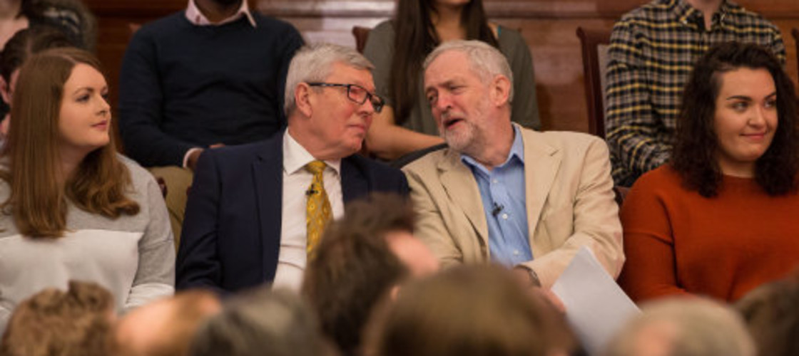 Jeremy Corbyn and Alan Johnson at an EU referendum campaign event