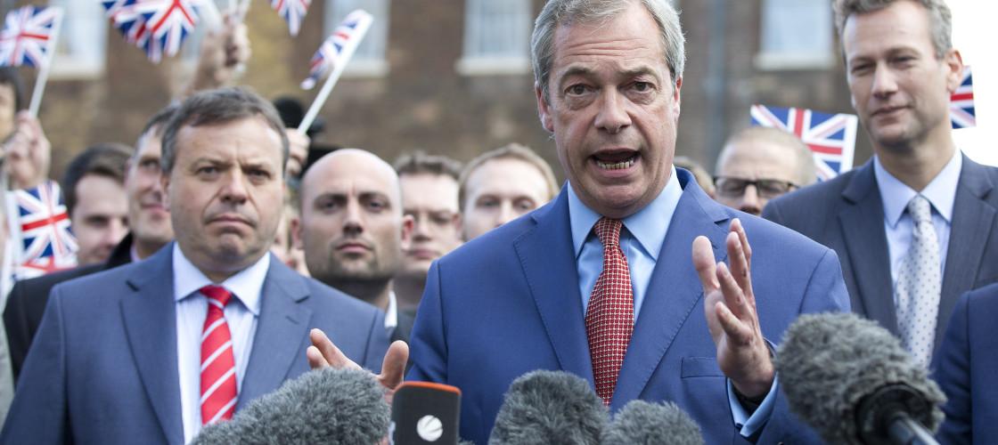 Nigel Farage and Arron Banks (left) celebrate victory in the EU referendum