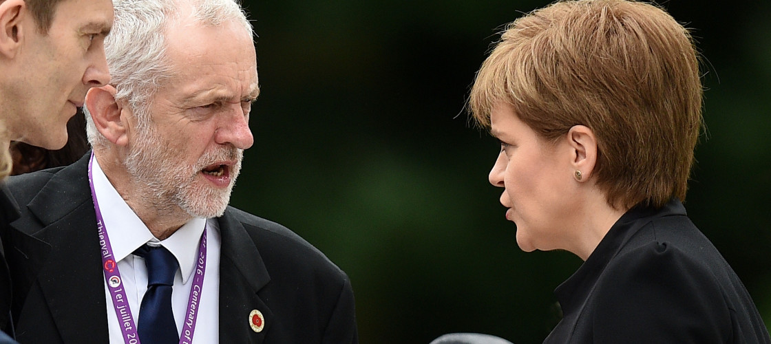 Jeremy Corbyn talking to SNP leader Nicola Sturgeon at a Somme memorial service
