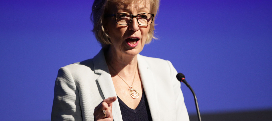 Andrea Leadsom speaking in Westminster this morning