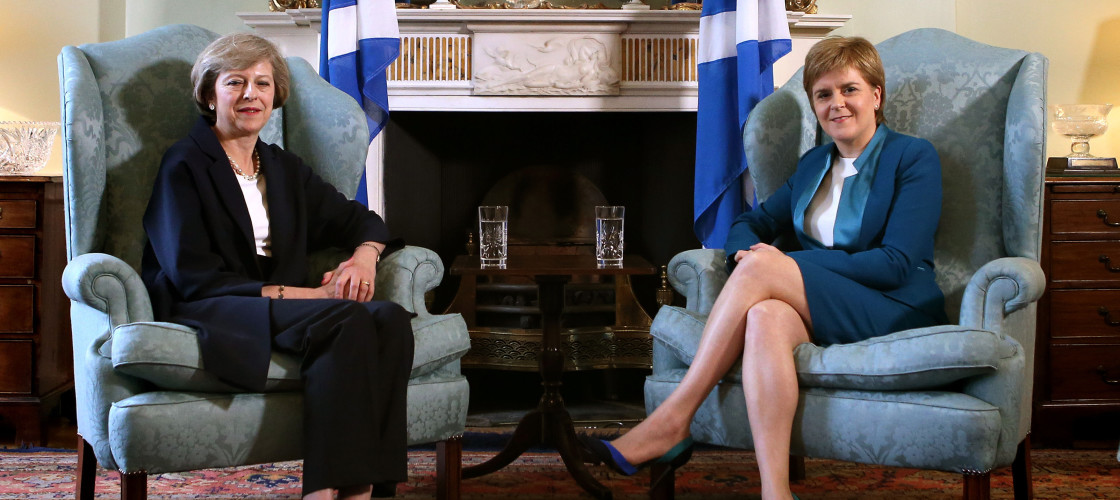 Theresa May and Nicola Sturgeon in Edinburgh earlier this month