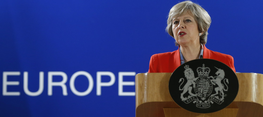 Theresa May address reporters after CETA deal collapse