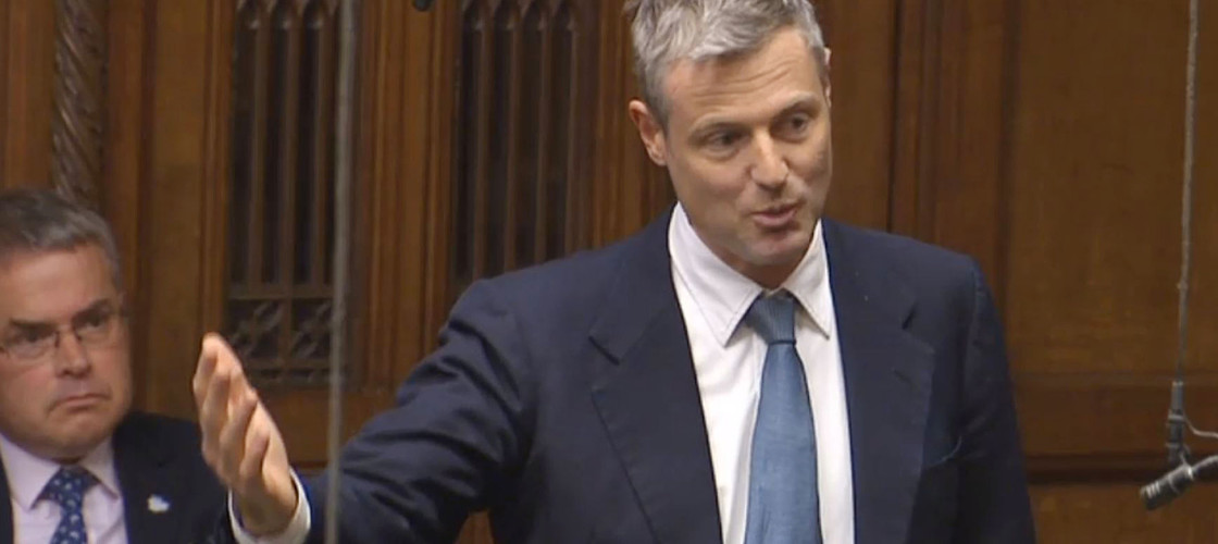 Zac Goldsmith addressing MPs after the Government's announcement on Heathrow