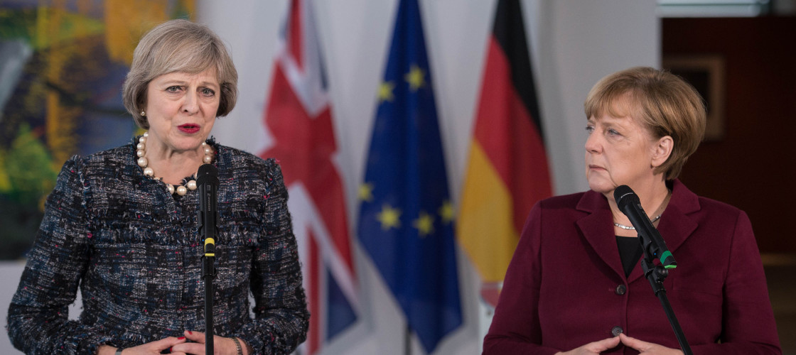 Theresa May alongside Angela Merkel this afternoon