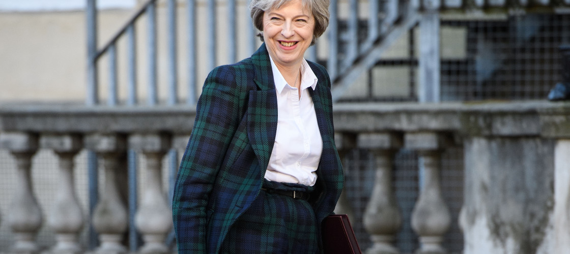 Theresa May pictured ahead of her landmark speech on Tuesday