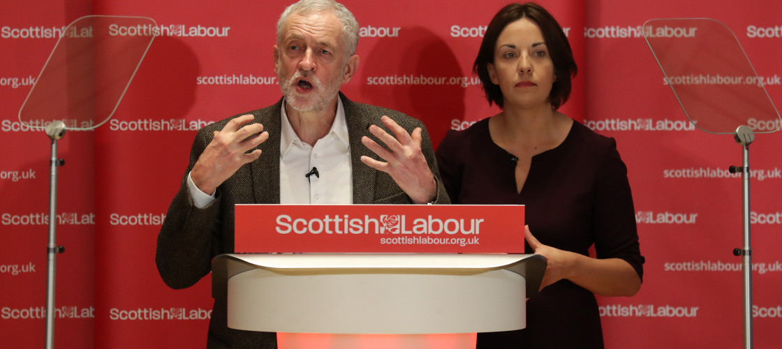 Jeremy Corbyn and Kezia Dugdale at a Scottish Labour event in January