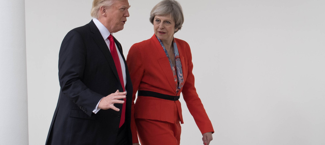 Theresa May with Donald Trump on her visit to the White House earlier this year