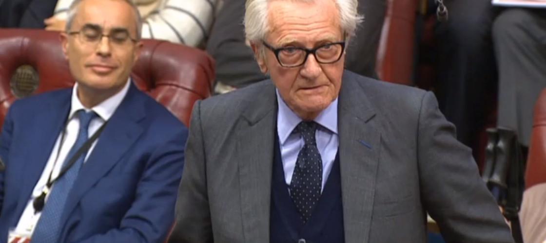 Lord Heseltine speaking during the Brexit bill debate