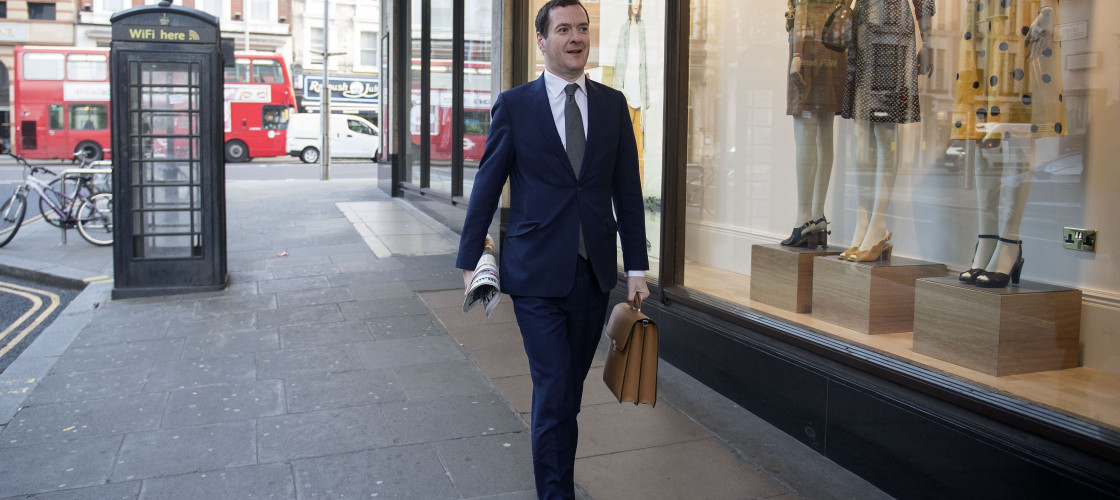 George Osborne outside the office of the Evening Standard