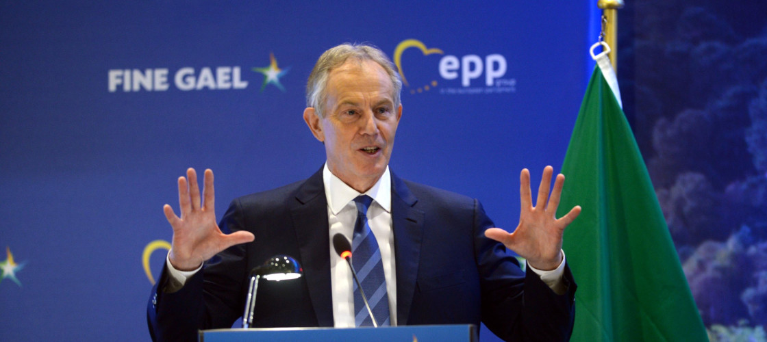 Tony Blair speaking at a conference on Brexit earlier this week