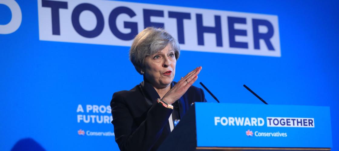 Theresa May launching the Tory manifesto in Halifax last week