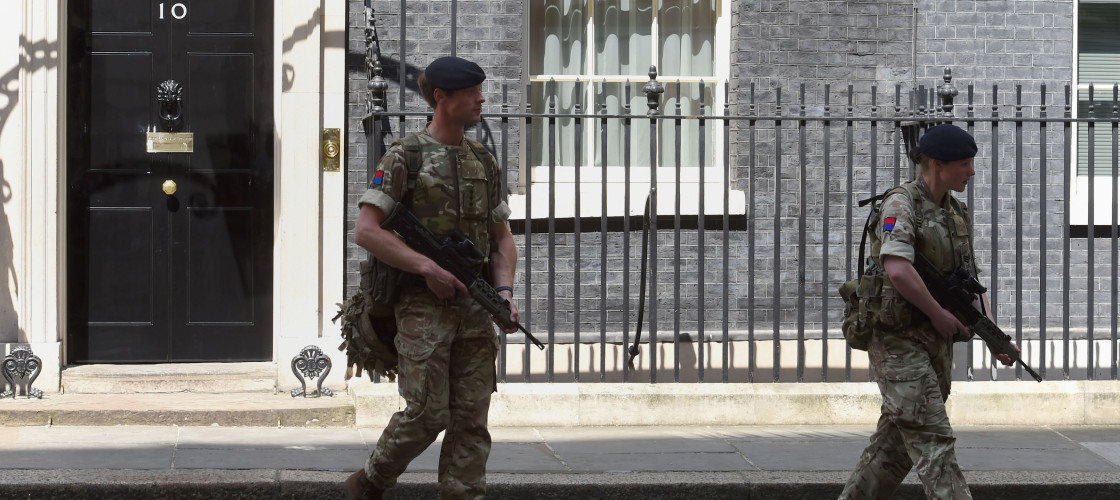 Troops outside Number 10