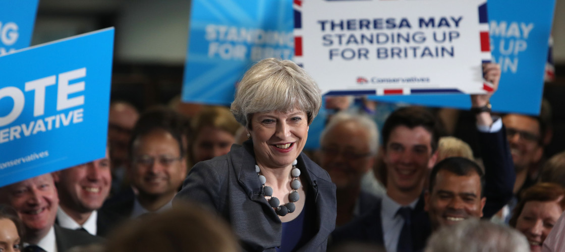 Theresa May campaigning in West Yorkshire yesterday