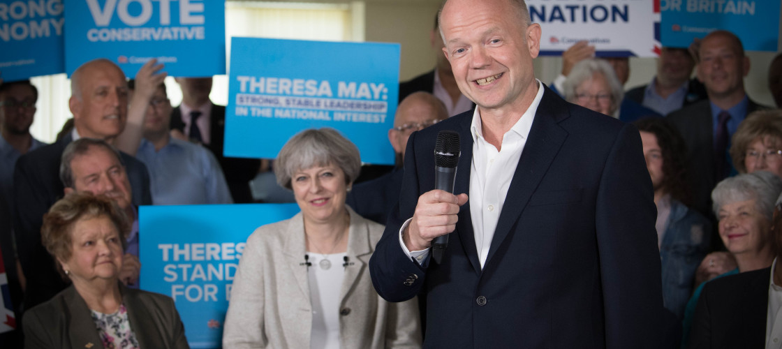 Former Tory leader William Hague at a general election campaign event