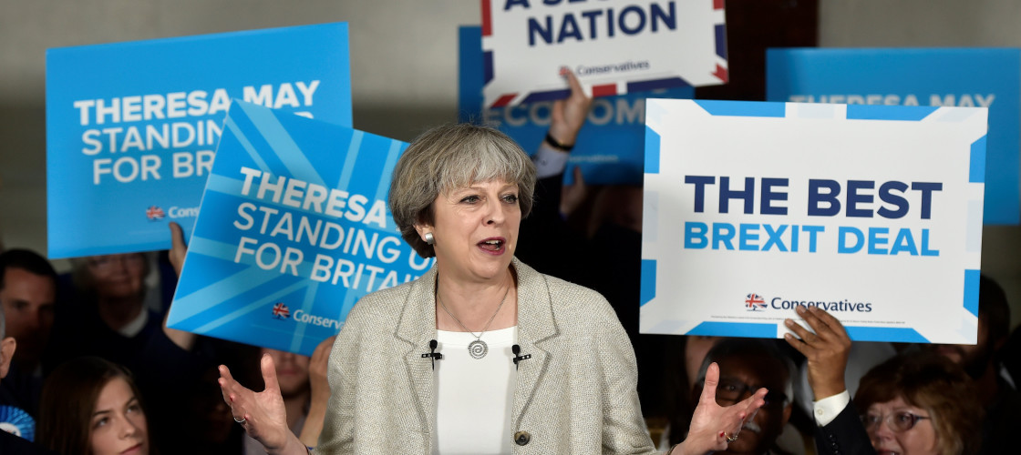 Theresa May campaigning in Yorkshire yesterday