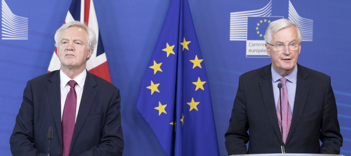 David Davis and Michel Barnier at a joint press conference in June