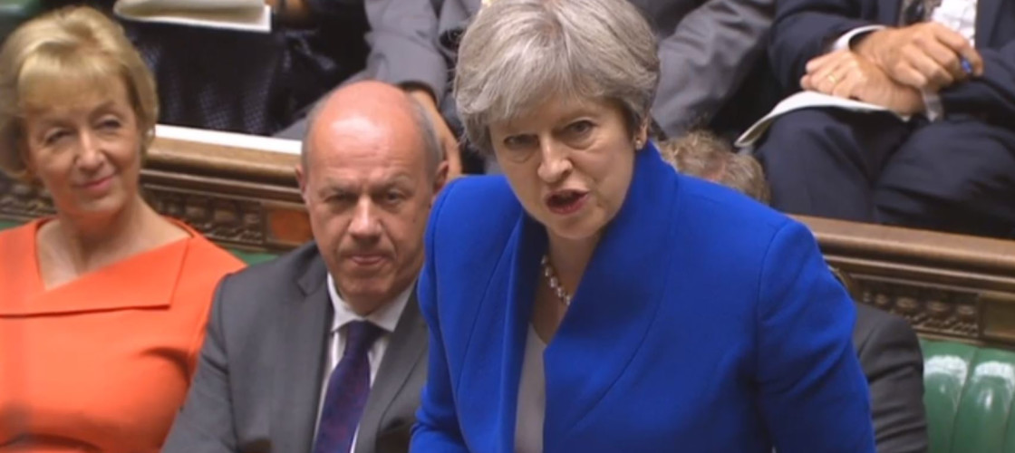 Theresa May speaking at Prime Minister's Questions last week