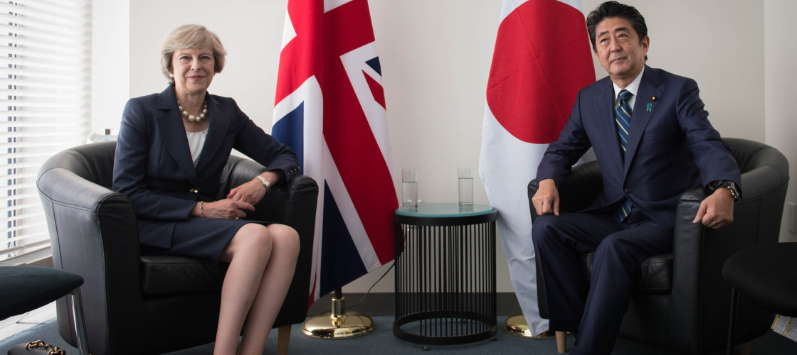 Theresa May meeting Japanese prime minister Shinzo Abe last year