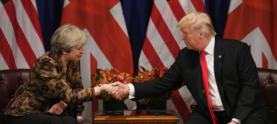 Donald Trump meeting Theresa May in New York earlier this year