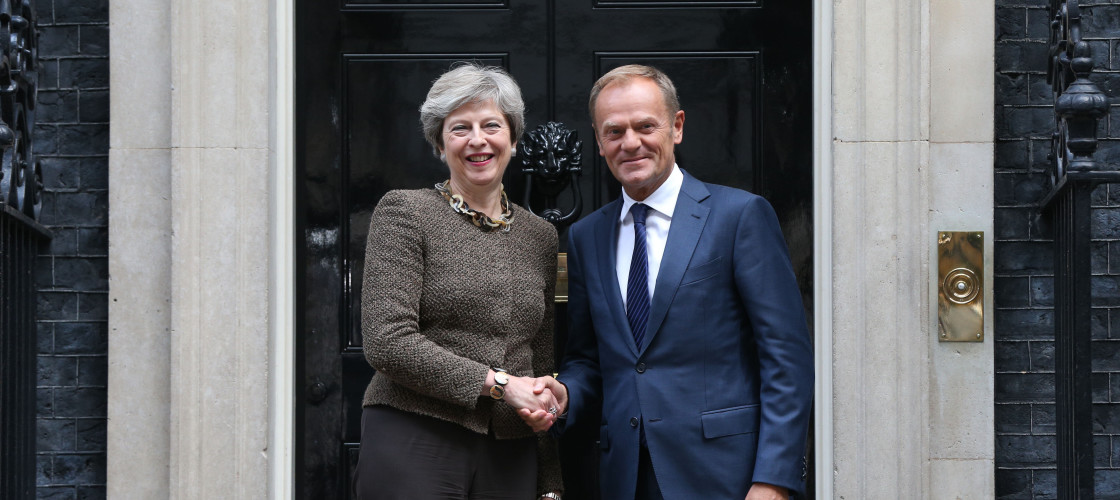 Theresa May meeting the head of the European Council, Donald Tusk, at Downing St
