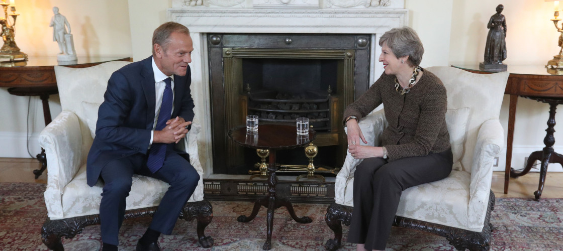 Theresa May meeting European Council president Donald Tusk in September