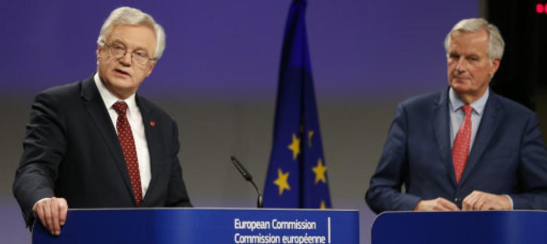 Brexit Secretary David Davis alongside the European Commission's lead negotiator, Michel Barnier
