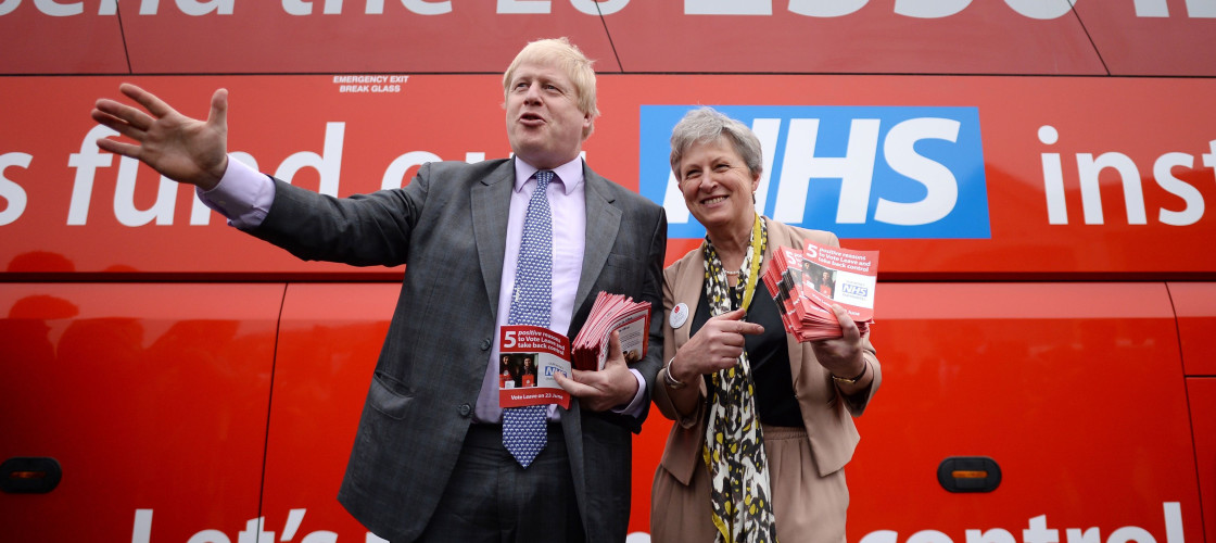 Boris and Gisella stand in-front of Vote Leave bus