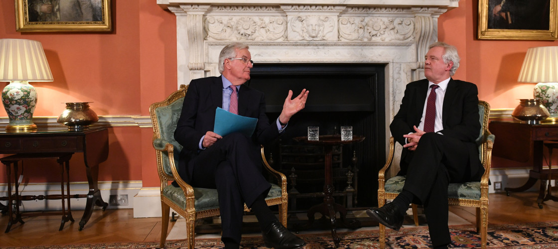 David Davis and Michel Barnier meeting in Downing St earlier this month