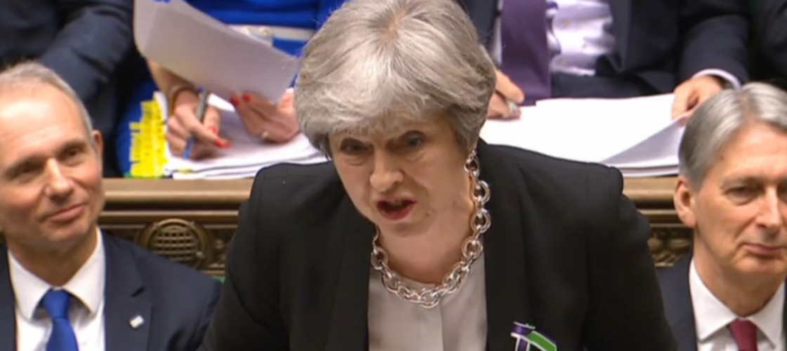 Theresa May appearing at Prime Minister's Questions this afternoon