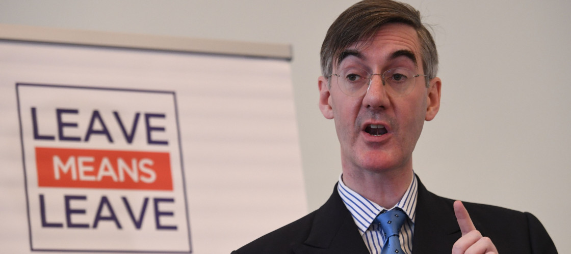 Jacob Rees-Mogg speaking in London this morning