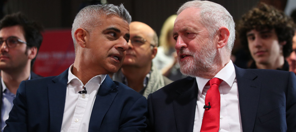 London mayor Sadiq Khan with Labour leader Jeremy Corbyn
