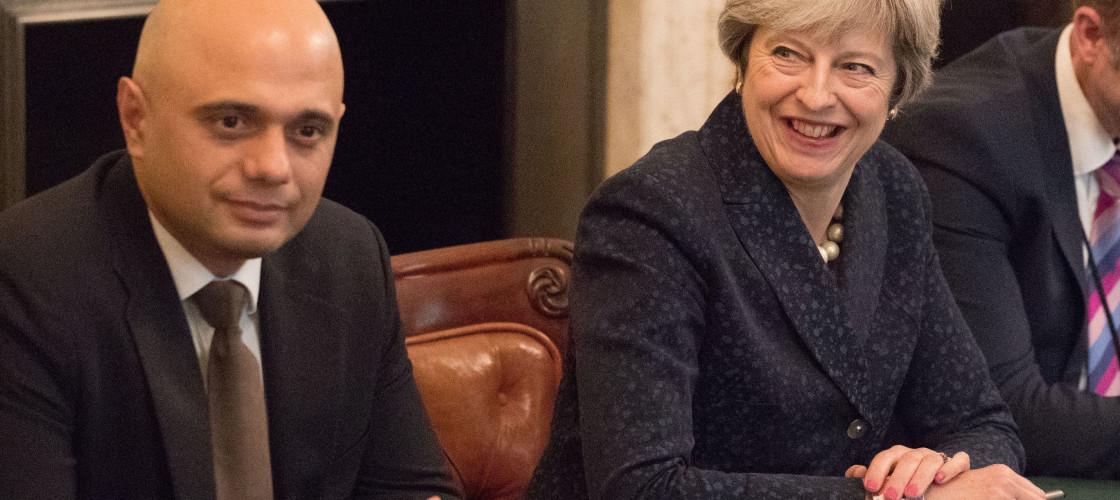 Sajid Javid and Theresa May at a cabinet meeting