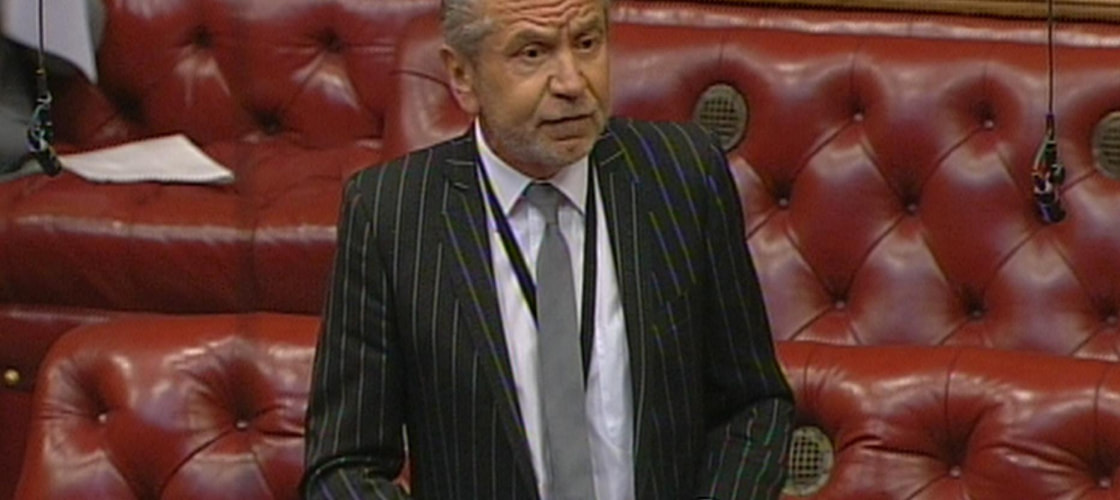 Lord Sugar speaking in the House of Lords