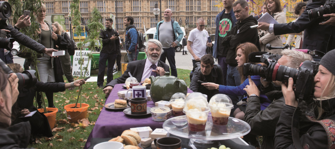 Paul Flynn speaks at a 'cannabis tea party' held outside Houses of Parliament