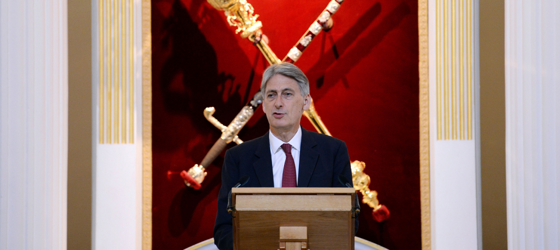 Philip Hammond making a speech at London's Mansion House