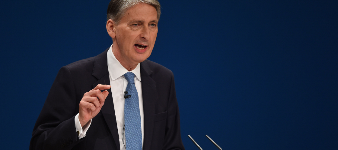 Philip Hammond speaking at the 2016 Conservative conference