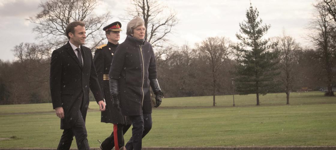 President Macron and Theresa May at Sandhurst last month