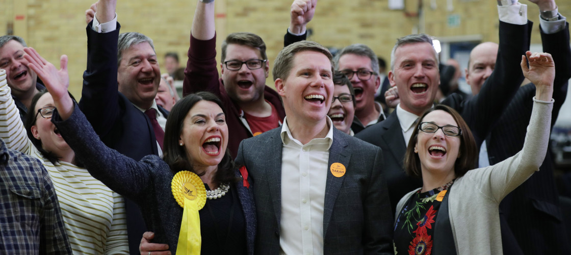 Sarah Olney celebrates her by-election victory in Richmond Park