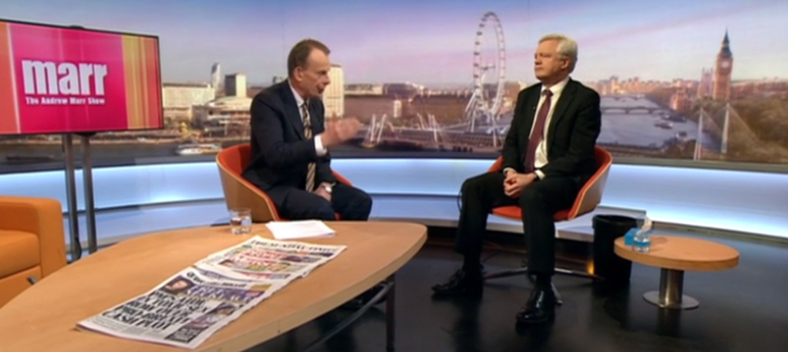 David Davis appearing on the Andrew Marr Show this morning