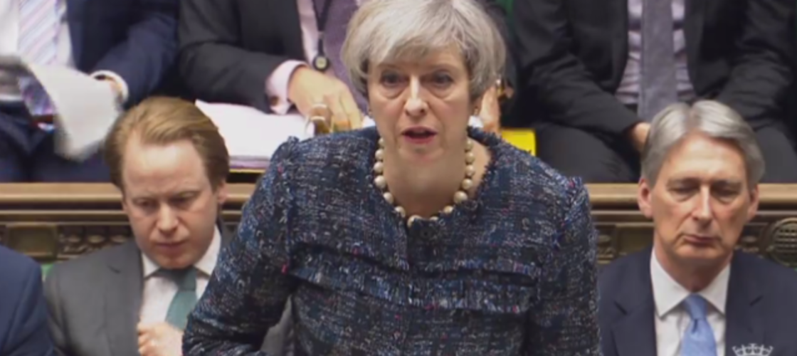Theresa May speaking at PMQs this lunchtime