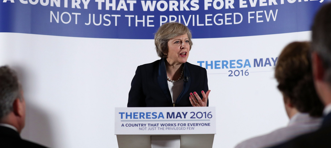 Theresa May makes a speech on economic inequality in Birmingham