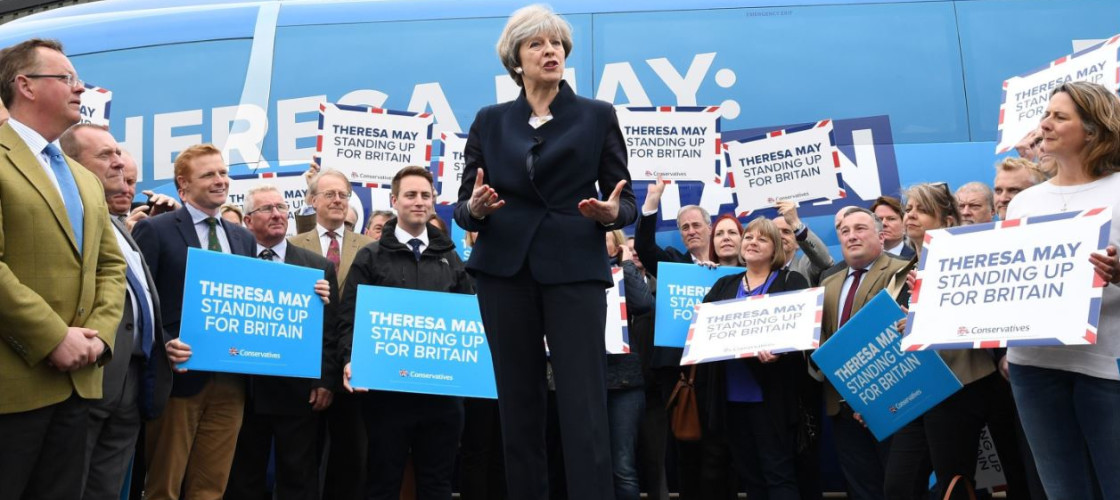 Theresa May on the election campaign trail ahead of the June vote